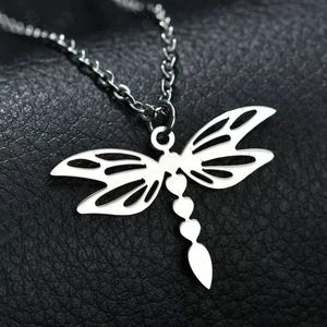 Stainless Steel Dragonfly Pendant with Necklace
